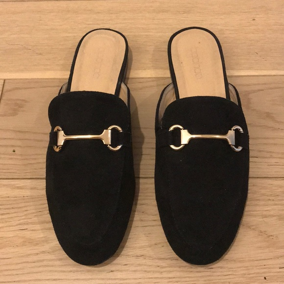 Gold Buckle Black Slipon Loafers Mules